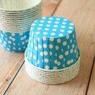Aqua Blue Dots paper Candy Cups cupcake liner