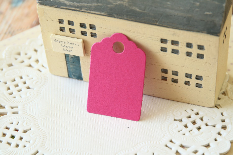 Magenta Pink mini scallop swing tags