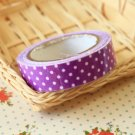 Purple Polka Dots adhesive deco fabric tape