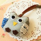 Blue Owl fabric bird key chain bag charm