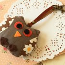 Brown Owl fabric bird key chain bag charm