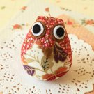 Floral Owl fabric bird key chain bag charm