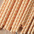Orange Damask paper straws