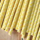 Yellow Damask paper straws