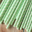 Light Green Damask paper straws
