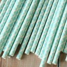 Light Blue Damask paper straws