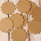 Flower Scallop Kraft Brown tags