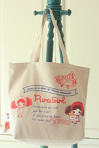 Red Aeroplane Pura Girl cartoon canvas tote bag