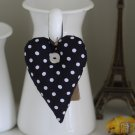 Black Polka Dots Fabric Deco Hanging Heart