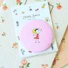Pink Girl Happy Smile pocket mirror