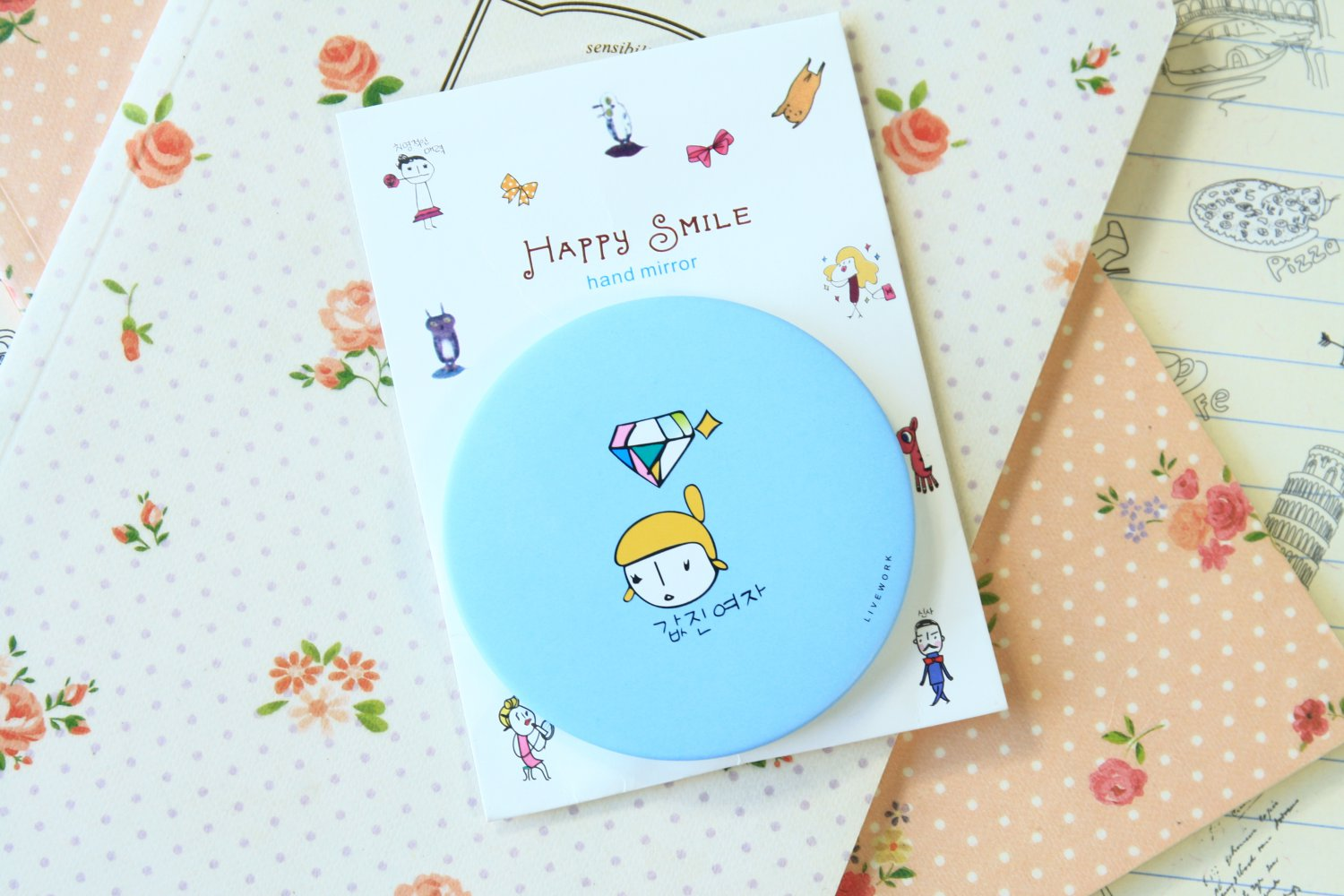 Blue Girl Happy Smile pocket mirror