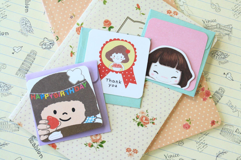 Set 01 Cute Cartoon blank mini greeting cards