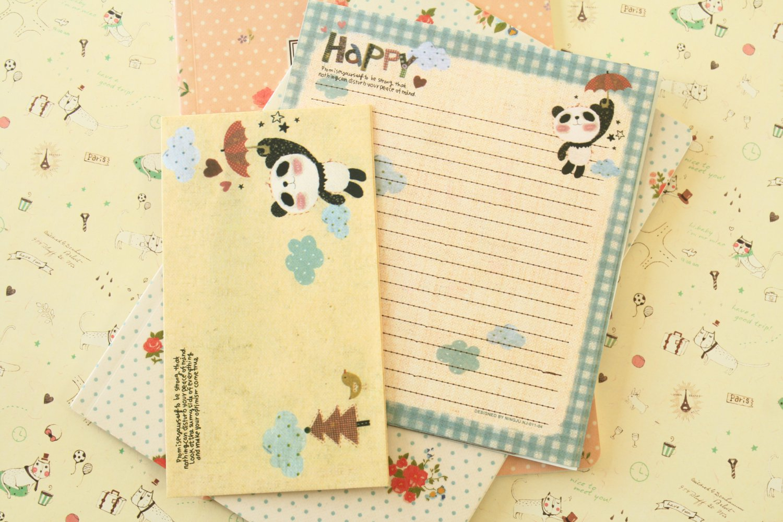 Happy Umbrella Panda Bear Cute Animals & Friends cartoon writing paper and envelopes letter set