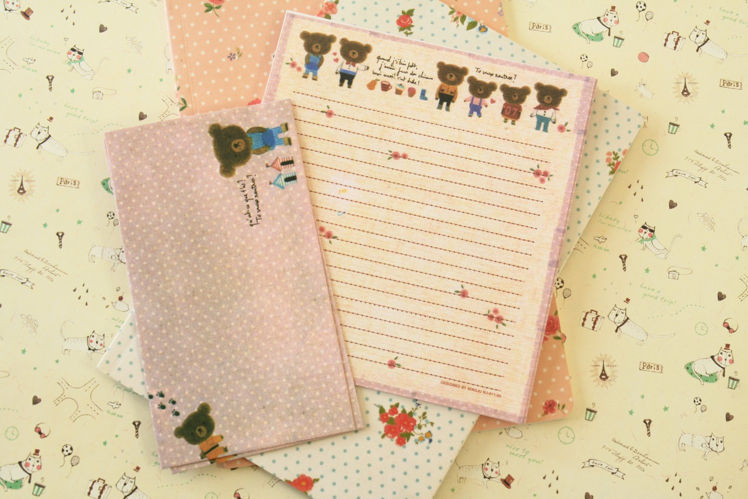 Flower Bears Cute Animals & Friends cartoon writing paper and envelopes letter set