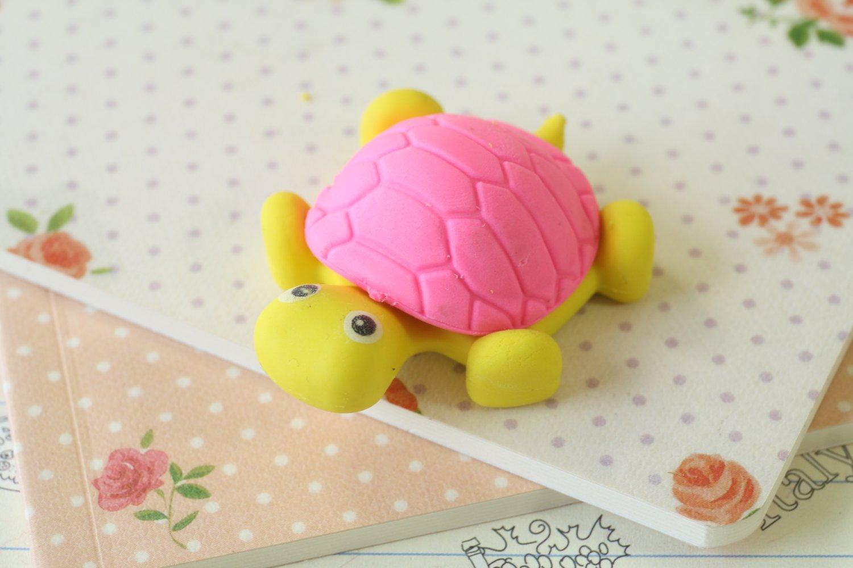 Pink & Yellow Little Turtle Eraser