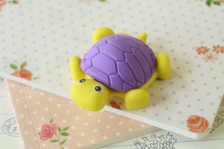 Violet & Yellow Little Turtle Eraser