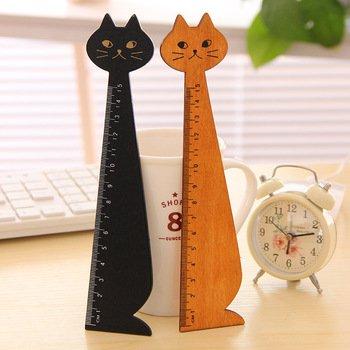 Black Miranda Cat cartoon wooden Pocket Ruler