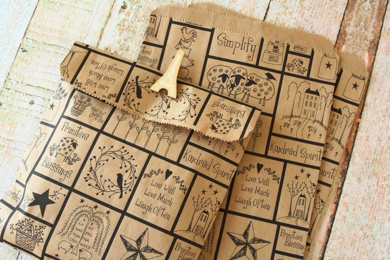 Primitive Blessings Kraft Brown paper bags