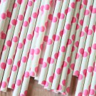 Hot Pink Big Dots paper straws