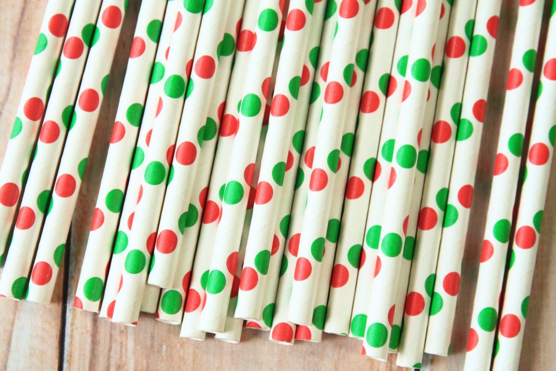 Red & Green Big Dots paper straws