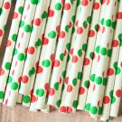 Red & Green Big Dots paper straws