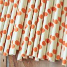 Orange Big Dots paper straws
