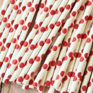 Scarlet Red Big Dots paper straws