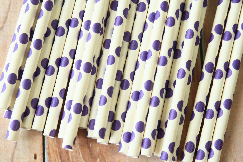 Purple Big Dots paper straws