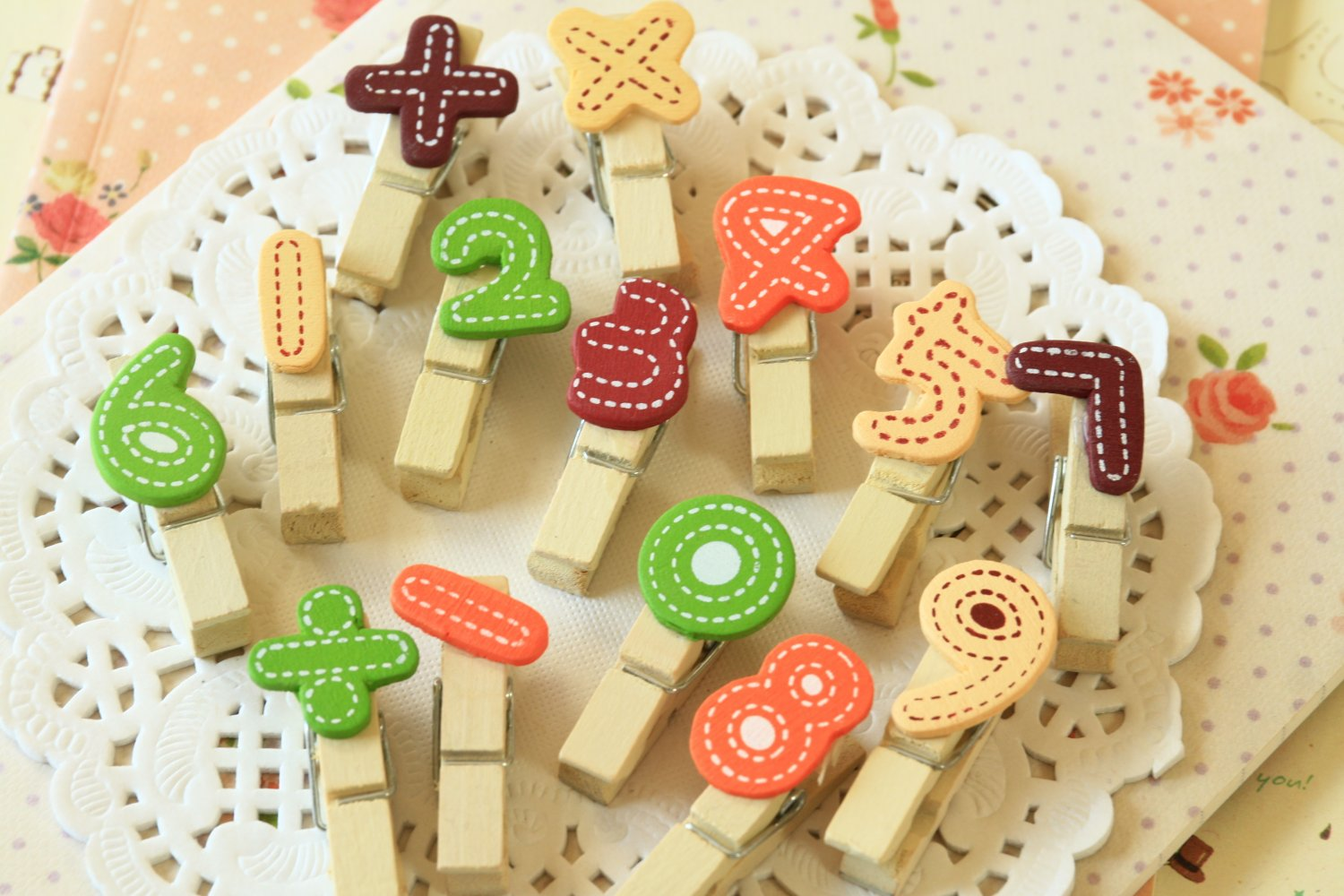Colorful Numbers & Symbols Wood Pegs Clips