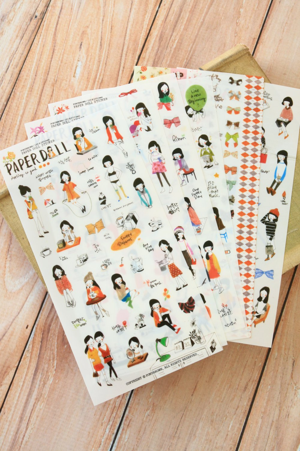 Pony Brown Paperdoll Girl cartoon scrapbooking diary stickers