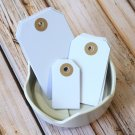 Small Smooth White reinforced luggage gift tags