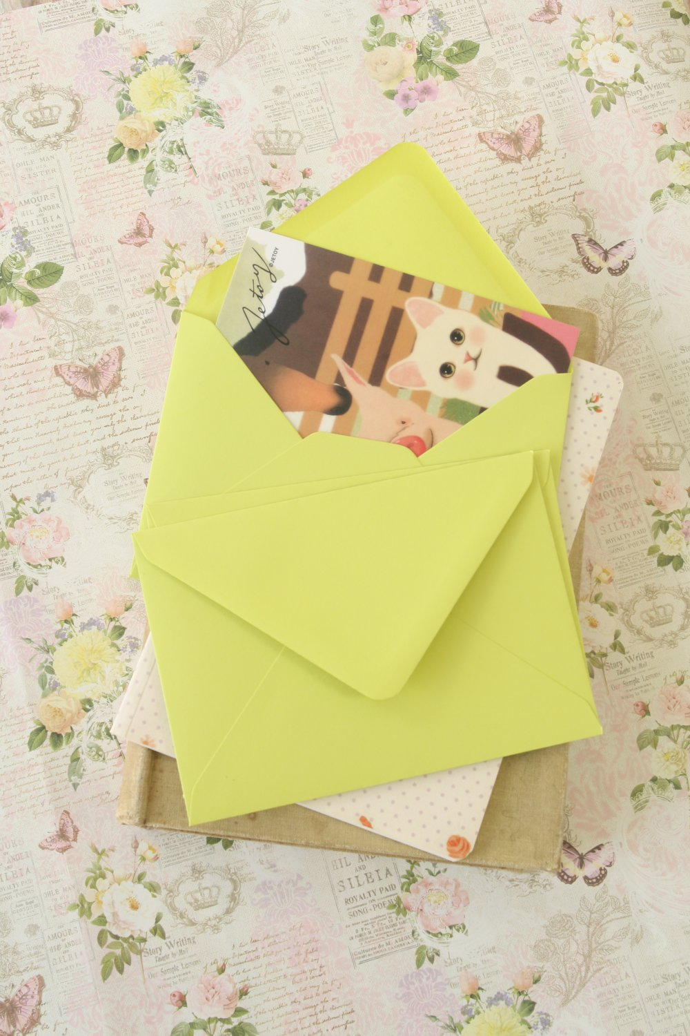 Pistachio Green vintage series C6 banker envelopes