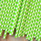Lime Green Checkers paper straws