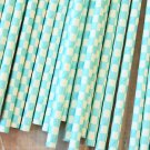 Light Blue Checkers paper straws