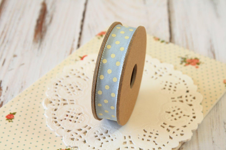 East of India Blue & Cream Polka Dots ribbon