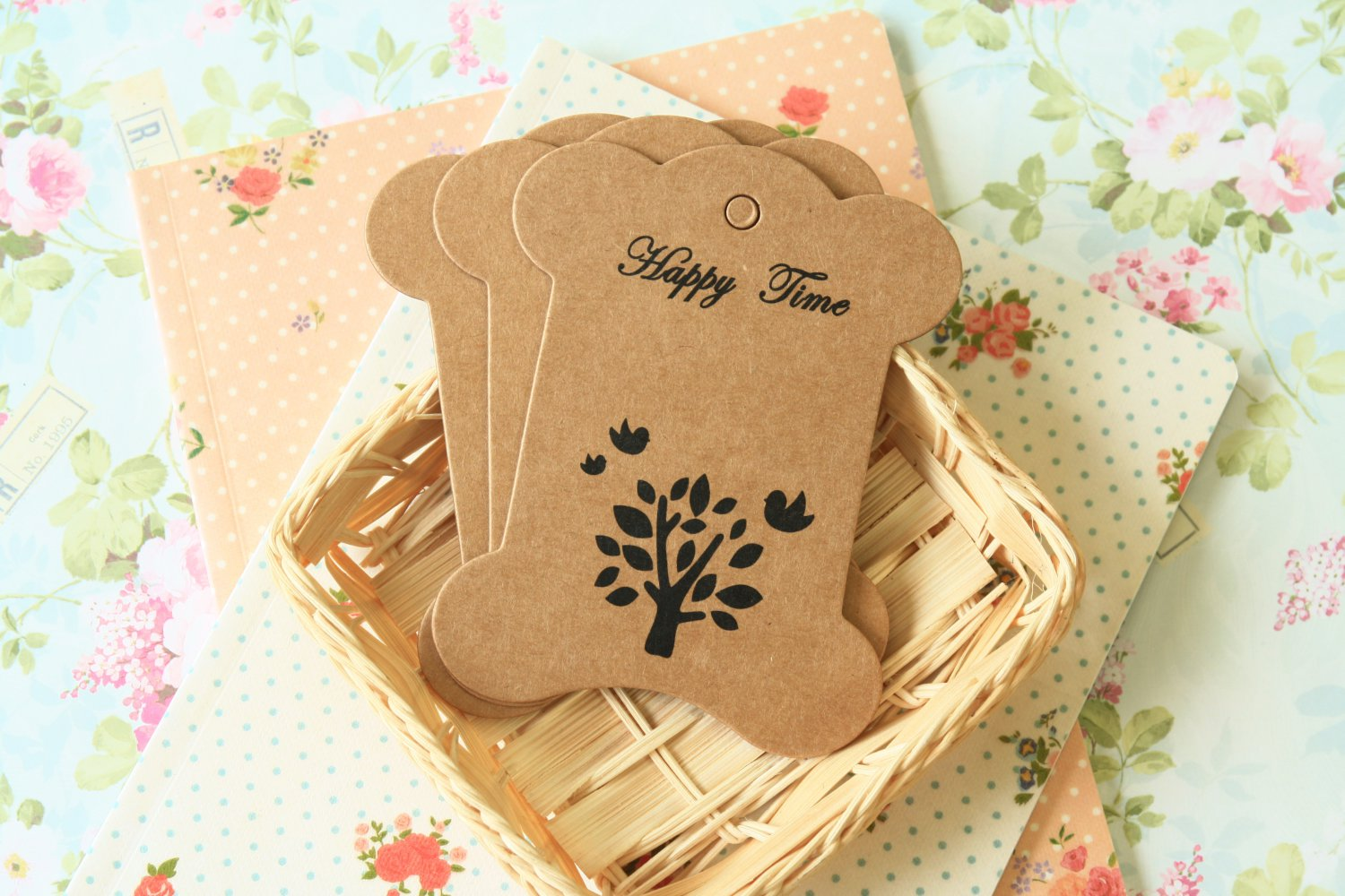 Birds & Tree Kraft card spool blanks bobbins