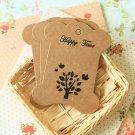 Birds & Tree Kraft card spool blanks bobbins