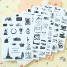 Retro Stamp postmark stickers set