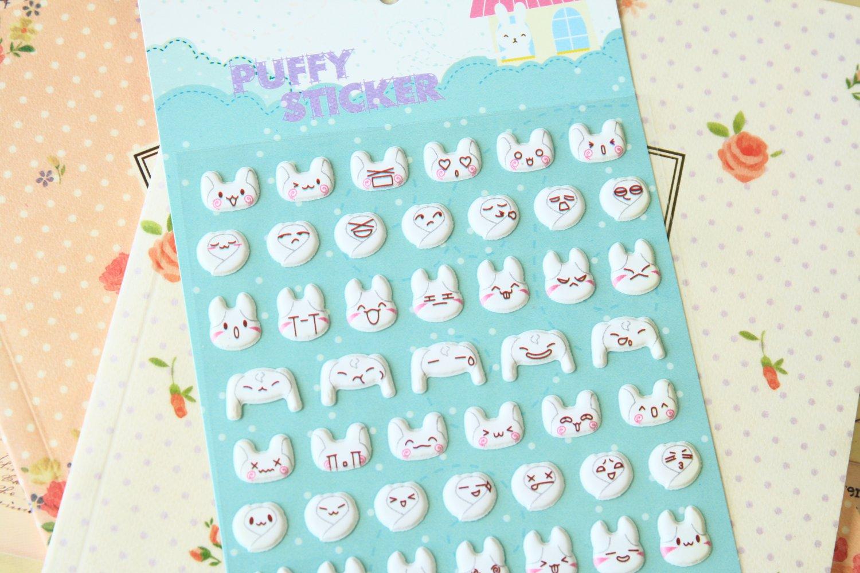 Super Rabbit cartoon puffy stickers