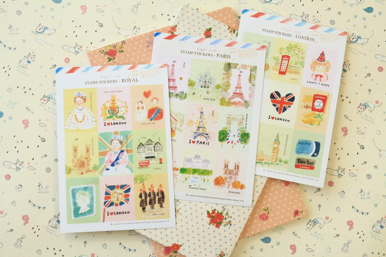 Mix Set L'apres Midi cartoon stamp stickers