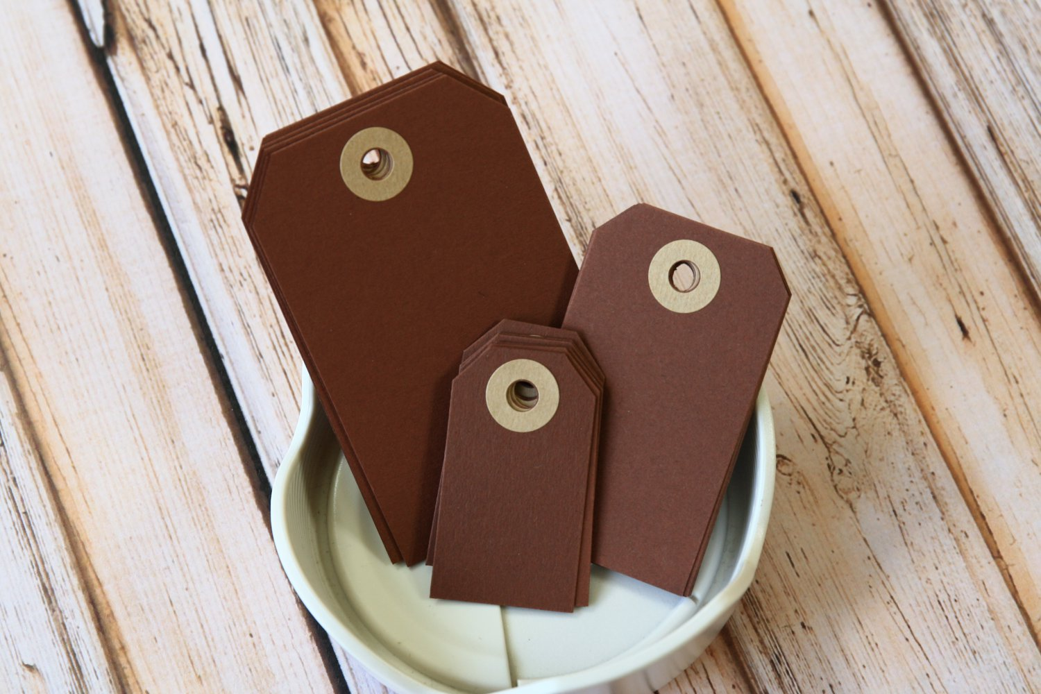 Small Chocolate Brown reinforced luggage gift tags