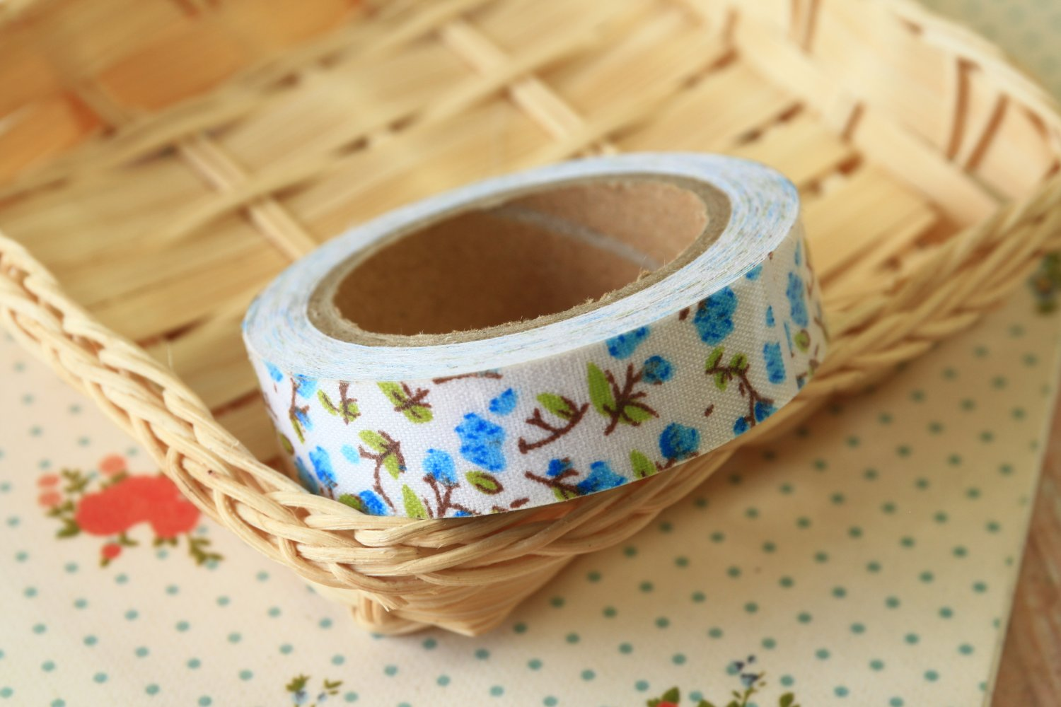 Leafy Blue Garden Flowers deco fabric tape