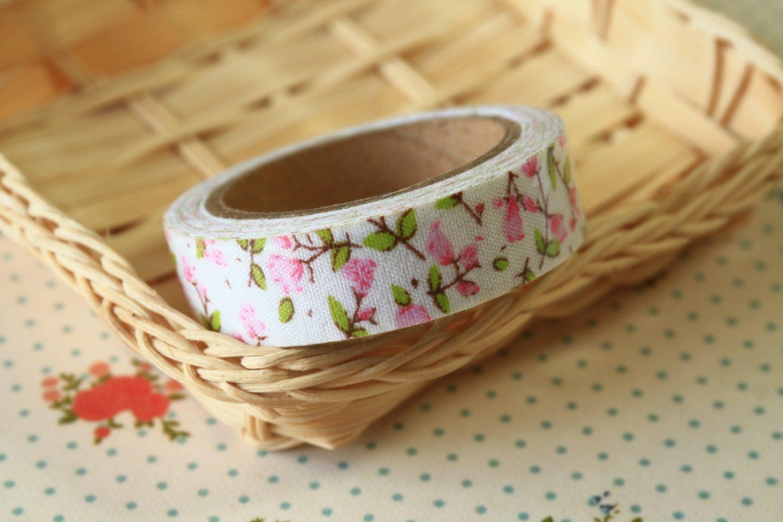 Pink Spray Garden Flowers deco fabric tape