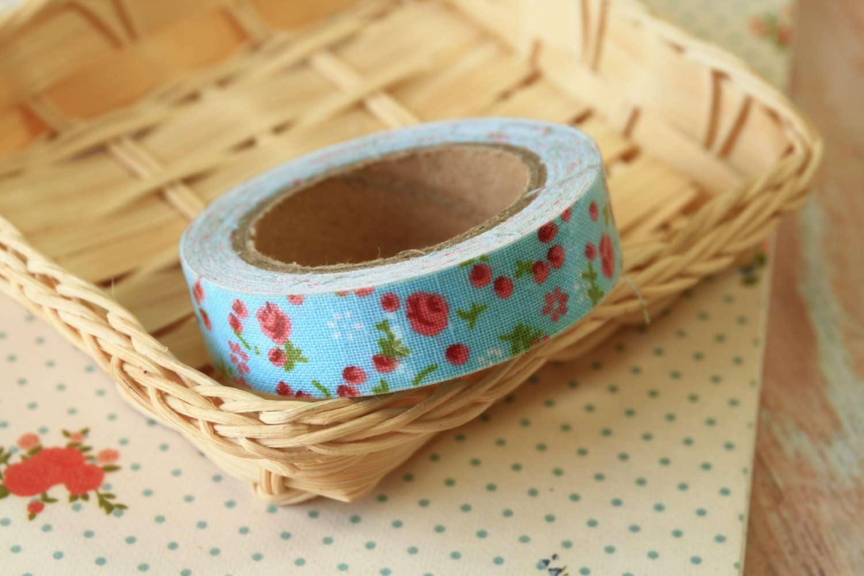 Blue Garden Flowers deco fabric tape