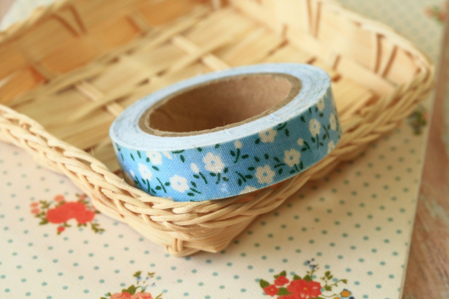 Pastel Blue Garden Flowers deco fabric tape