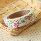Pink Flowers Garden Flowers deco fabric tape