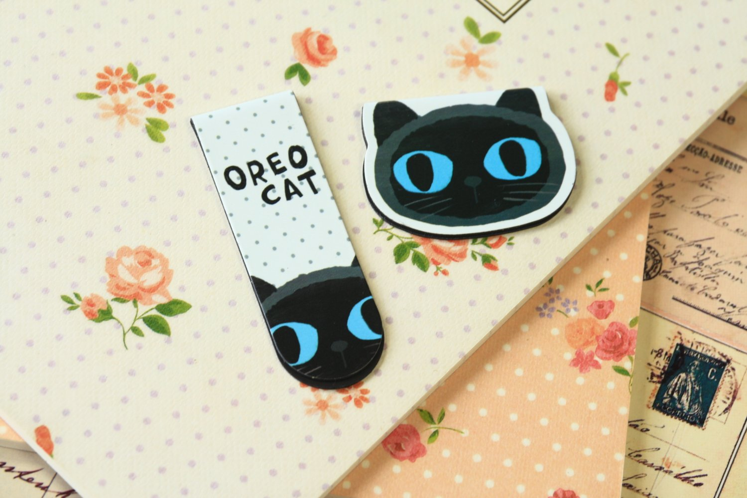 03 Oreo Cat cartoon magnetic bookmark paper clips