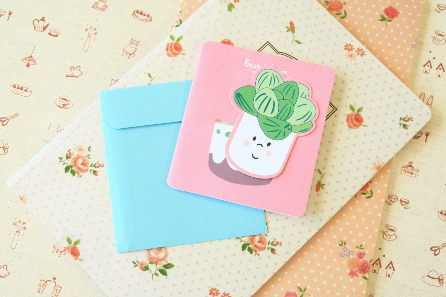 07 Succulents Bookmark & cartoon greeting card