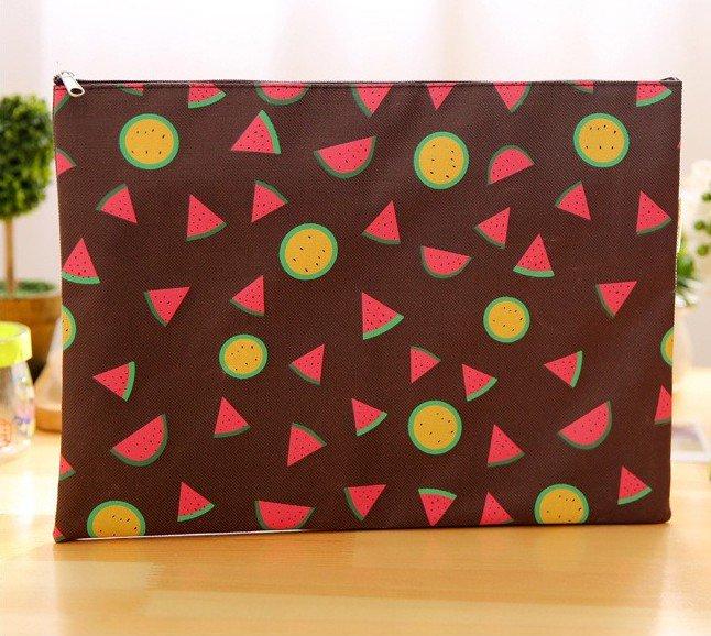 Brown Summer Fruits File Bag