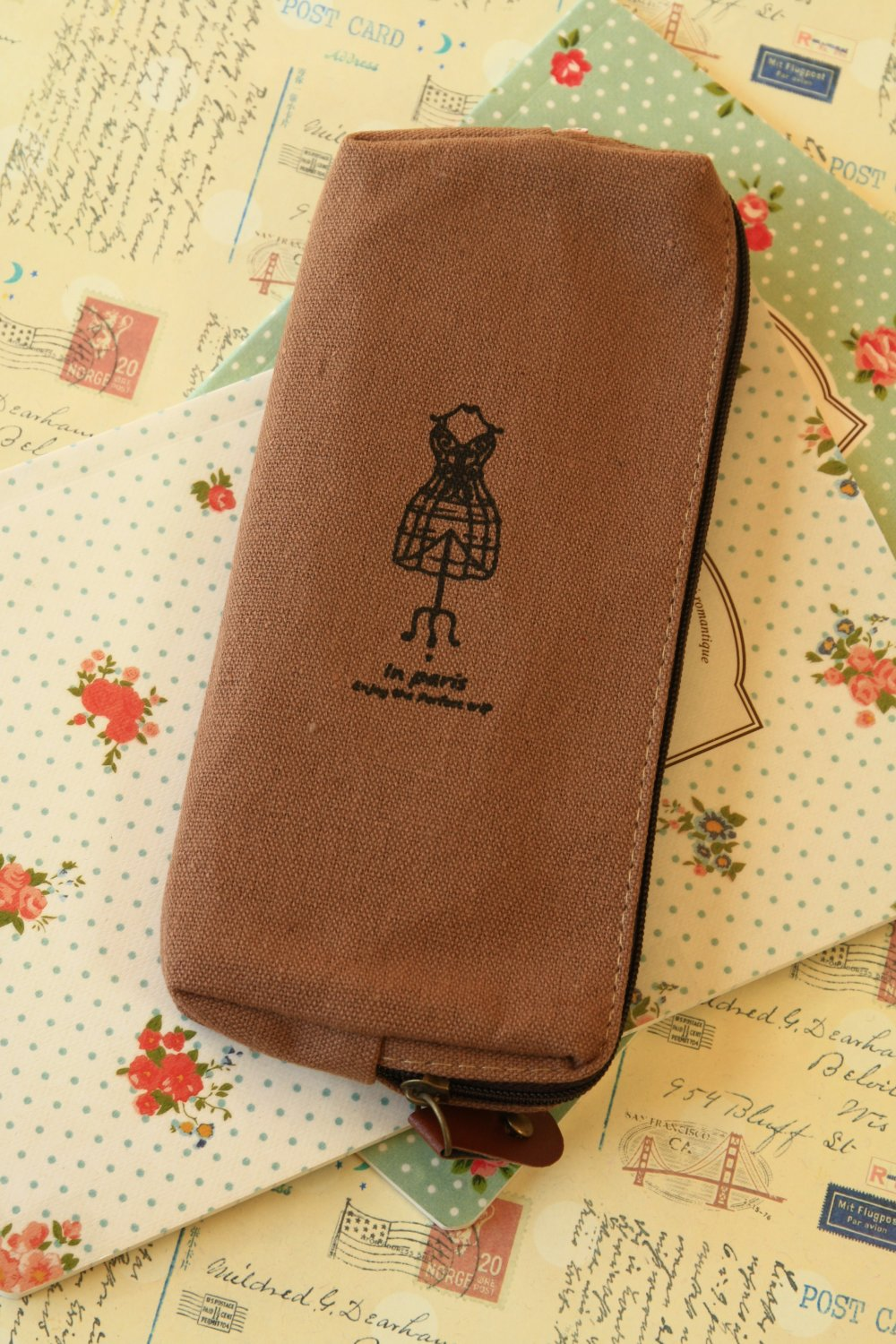 Mocha Brown Paris Memory pen bag